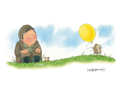 Percy The Park Keeper Signed Print The Hedgehog's Balloon print - A3 - signed by Nick Butterworth