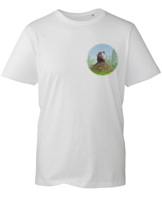 Percy The Park Keeper T-shirt Mole in Sunglasses Logo T-shirt - White