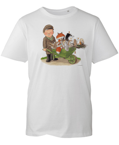 Percy The Park Keeper T-shirt Percy and Wheelbarrow T-shirt - White