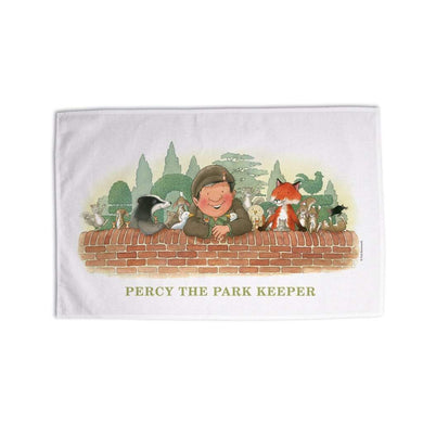 Percy The Park Keeper Tea Towel Percy and friends on the wall tea towel