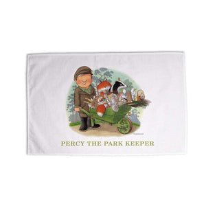 Percy The Park Keeper Tea Towel Percy and friends wheelbarrow tea towel