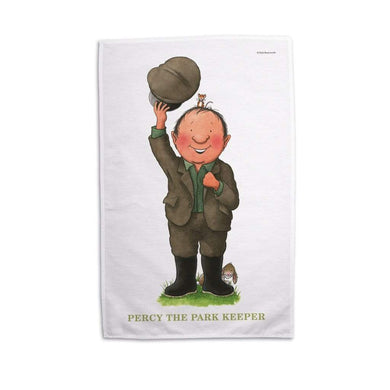 Percy The Park Keeper Tea Towel Percy waving tea towel