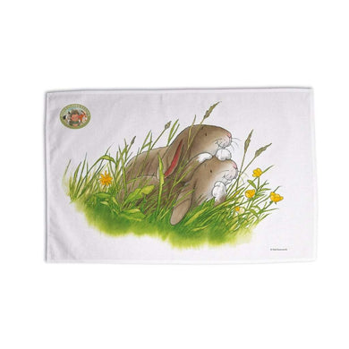 Percy The Park Keeper Tea Towel Rabbits watching tea towel