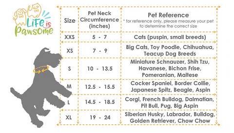 life is pawsome size chart