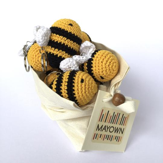Crocheted Bee Keychain