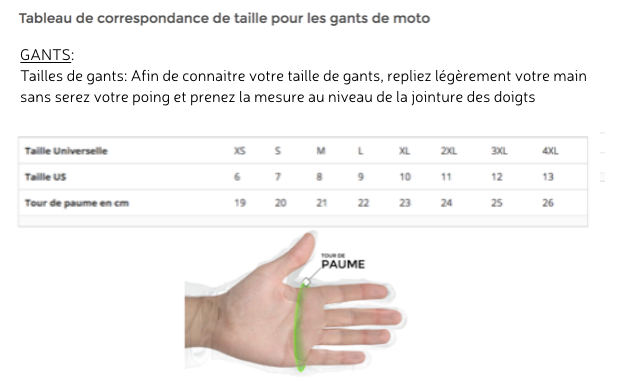 guide taille gants
