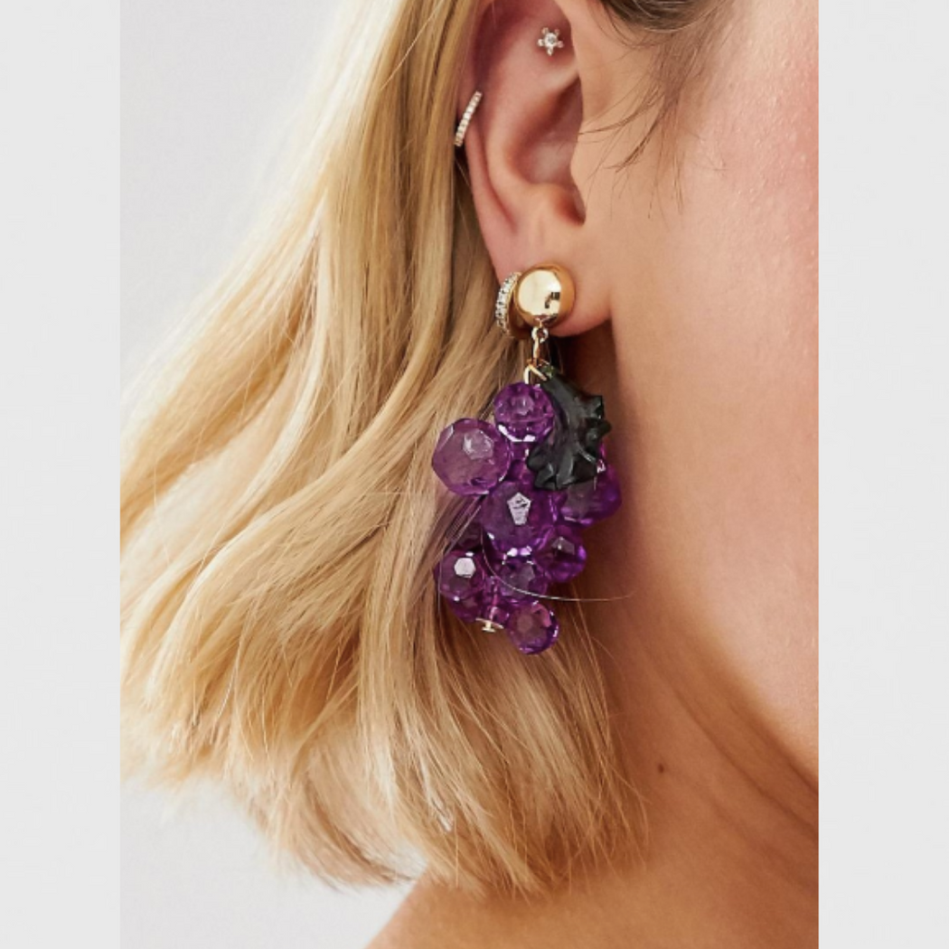 The Beaded Grape Earrings - Kina & Tam