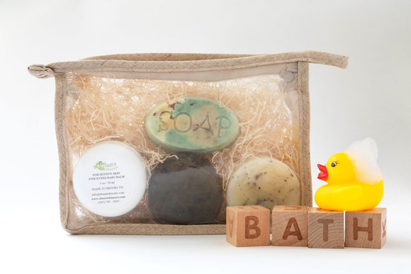 3 mini soaps-1 oz. Baby Balm-In a Hemp Bag for baby trial kit