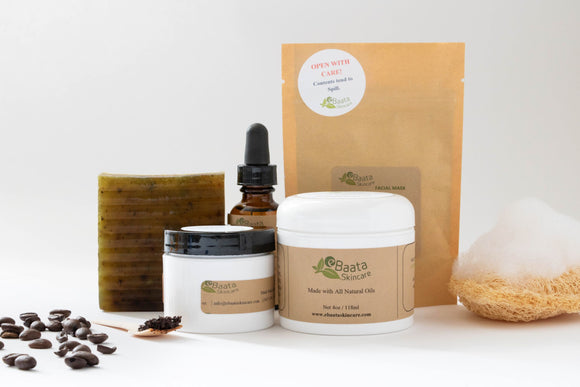 Ebaata Fall Wellness Bundle, comes with one Eucalyptus soap, Coffee and Sugar Scrub,  Eye Serum, Activated Charcoal Soothing Facial Mask and one 4 oz. soothing Shea butter cream.