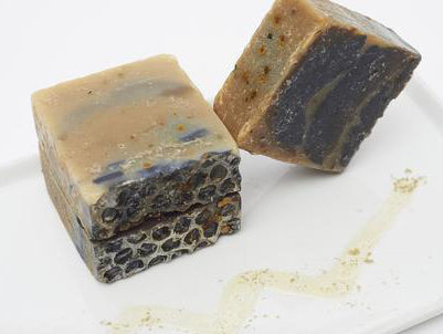 Honey Dew Granola Bar Soap with seaweed, charcoal, bee pollen, raw honey