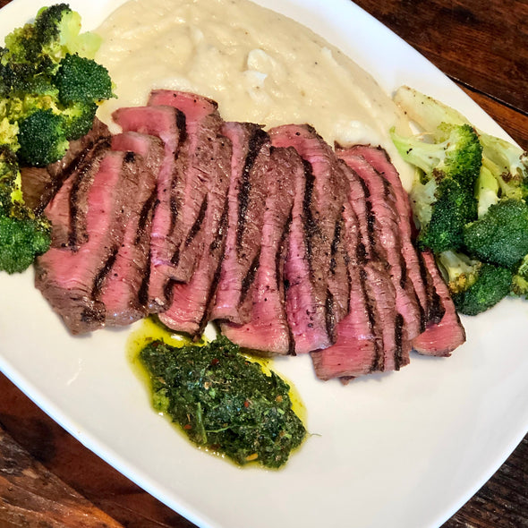 Beef Tenderloin Chimichurri with Roasted Broccoli & CauliMash