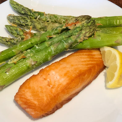Pan Seared Salmon & Parmesan Asparagus