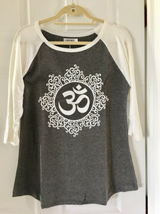 Gray and White Om Print Baseball Shirt