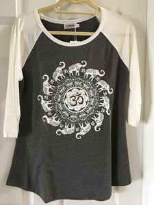 Gray and White Om and Elephant Print Baseball Shirt