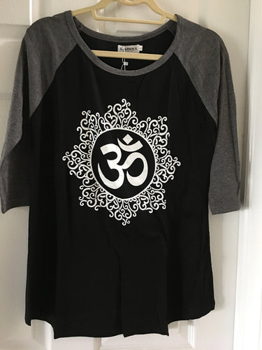Gray and Black Om Print Baseball Shirt