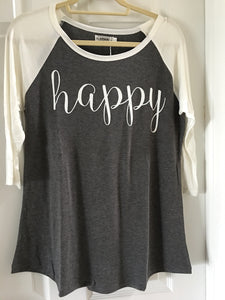 Gray and White Happy Print Baseball Shirt