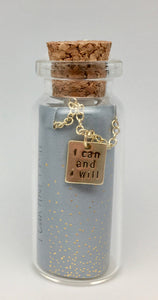 Lucky Feather Message in A Bottle Necklace