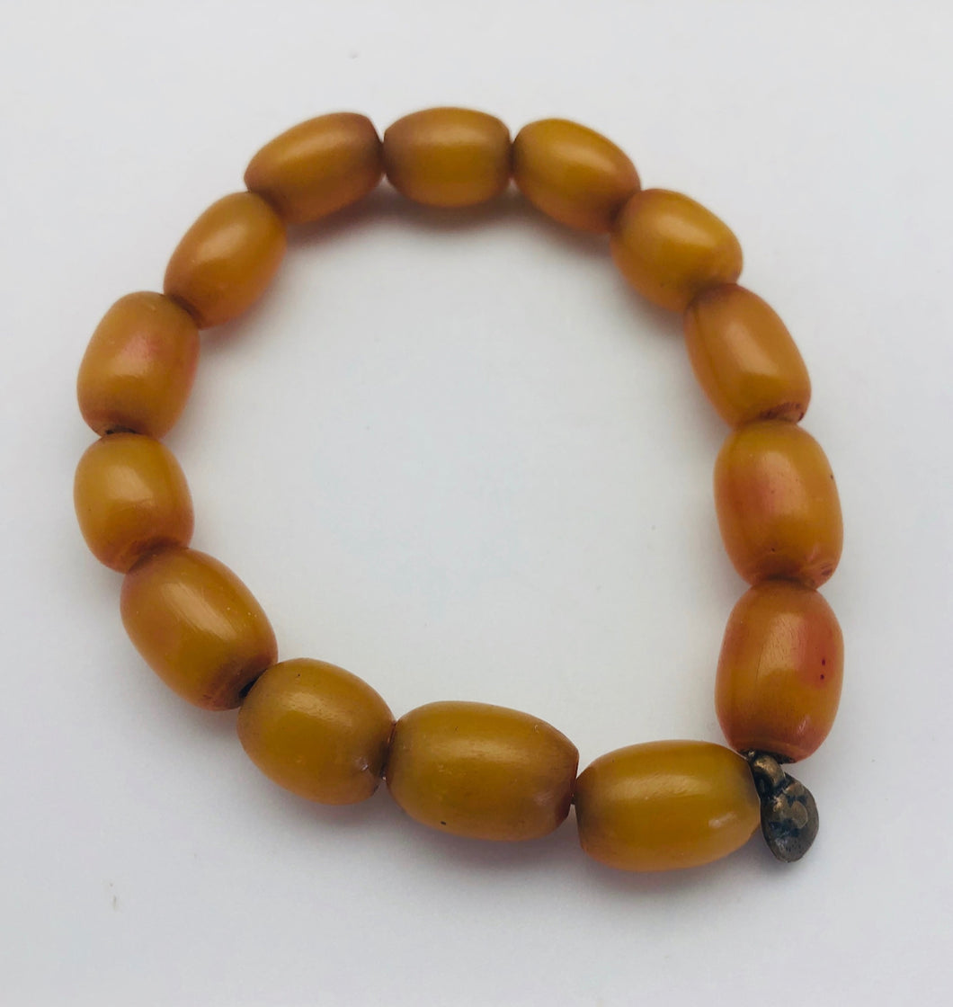 African Trade Beads Mali Amber Bead Stretch Bracelet