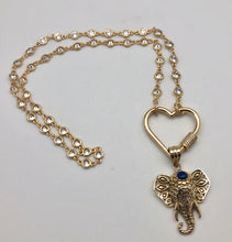 Bhakti Panda New Love Golden Elephant Heart Carabiner Necklace