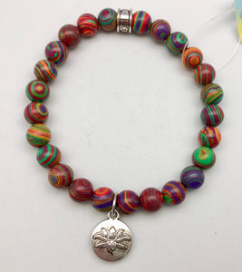 Chavez for Charity Banded Agate Bracelet with Lotus Charm - Matthew Shepard Foundation