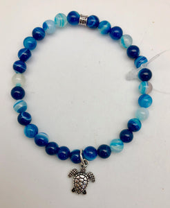 Chavez for Charity Blue Agate Bracelet with Turtle Charm - Providing Safe Water