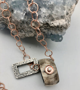 Cheryl Dufault Designs Pia Rose Gold Chain Necklace with Topaz, Silver & Horn Charms