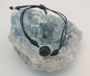 Dune Jewelry Touch the World Mental Health Awareness 7 Continent Sand, Black String & Semi Colon Bracelet