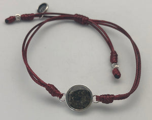 Dune Jewelry Touch the World Humanitarian Medical Care 7 Continents Sand, Maroon String & Staff of Hermes Charm Bracelet
