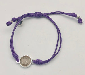 Dune Jewelry Touch the World Opioid Research & Rehabilitation Rockaway Sand, Purple String & Horizon Charm Bracelet