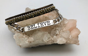 Good Works Make A Difference Angel Inspirational Word ID Double Cuff Bracelet