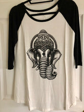 Black and Off White Ganesh Print Baseball Shirt