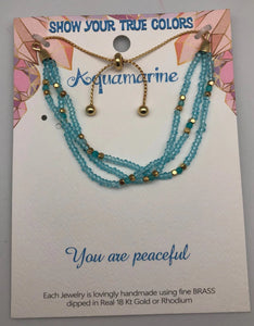 You Are Peaceful Aquamarine and Gold Affirmation Slip Bracelet