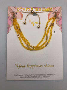 Your Happiness Shines Topaz and Gold Affirmation Slip Bracelet