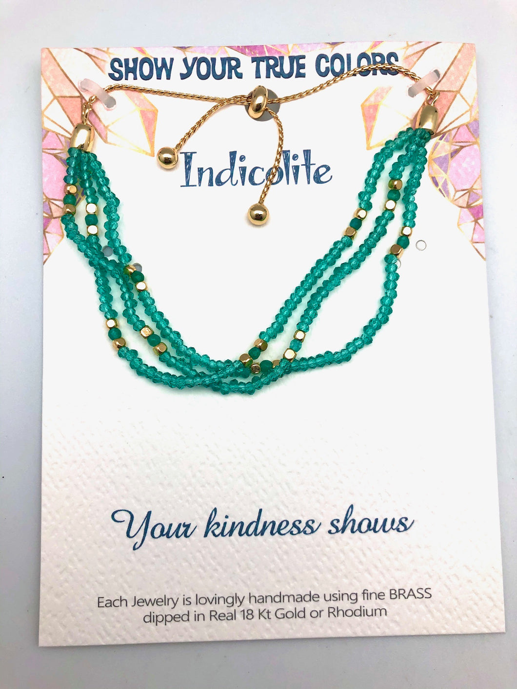 Your Kindness Shows Indicolite and Gold Affirmation Slip Bracelet