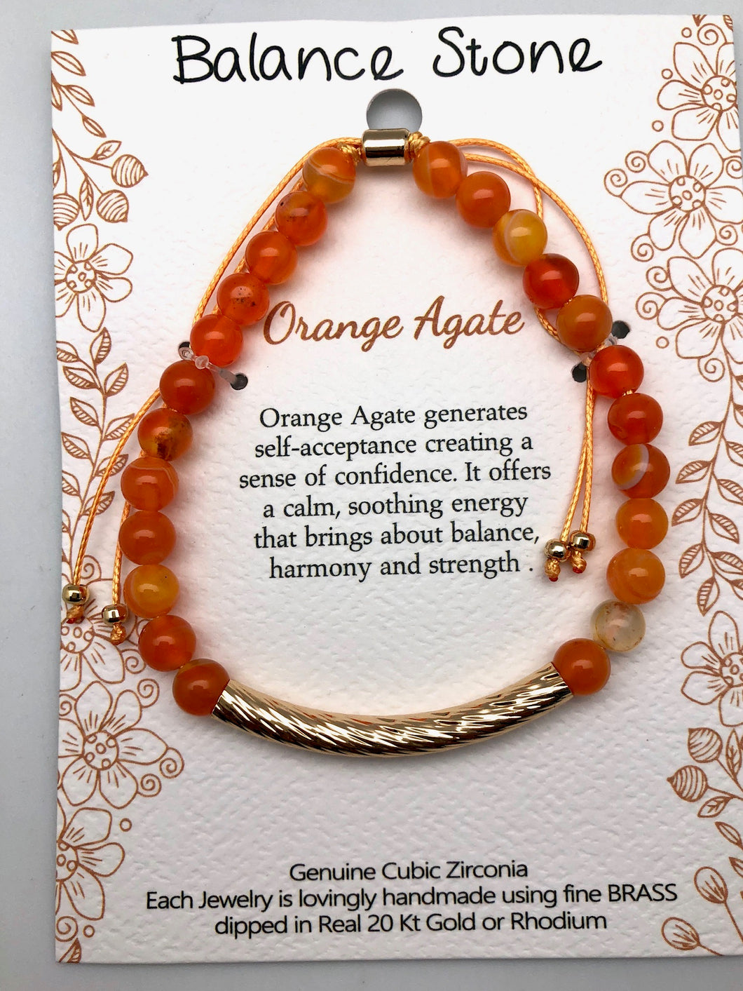 Confidence and Energy Orange Agate and Gold Affirmation Slip Bracelet