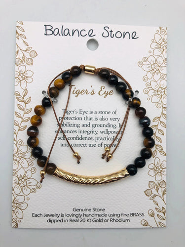 Protection and Stability Tigers Eye and Gold Affirmation Slip Bracelet