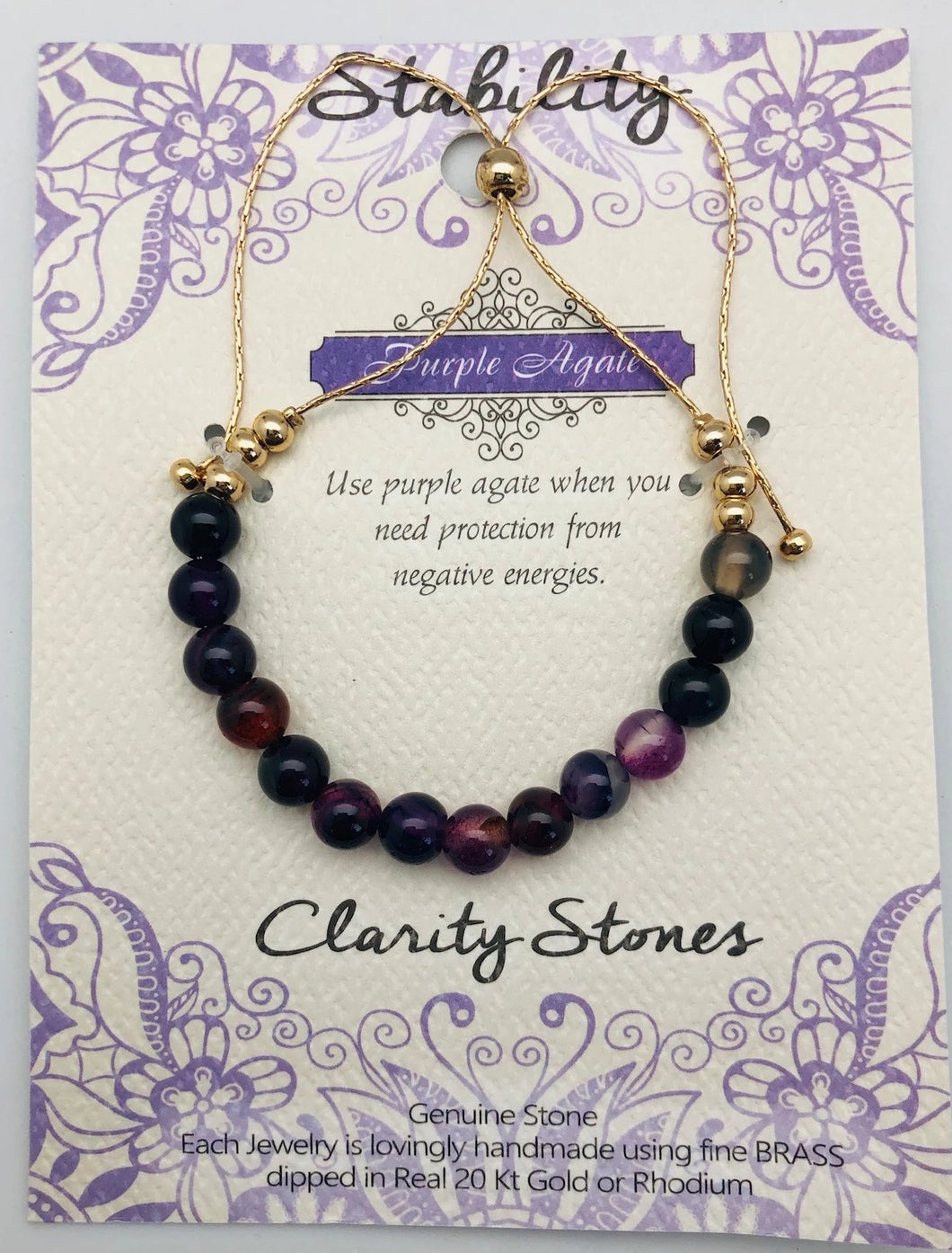 Clarity Stones Stability & Protection Purple Agate Affirmation Slip Bracelet