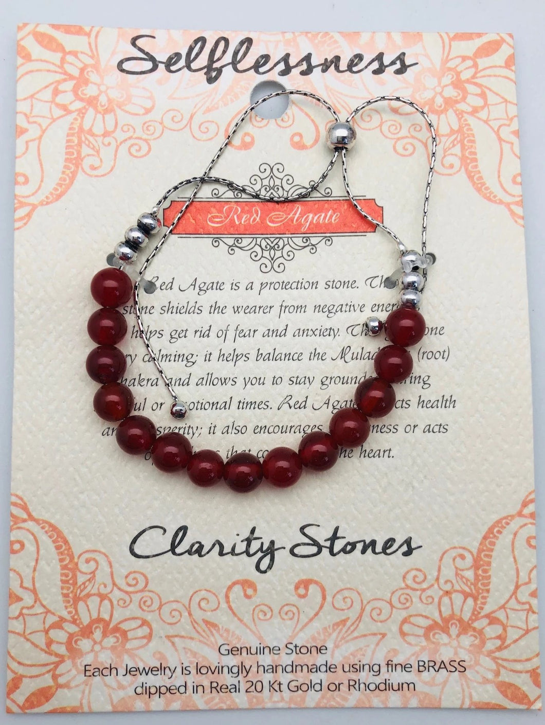 Red Agate Clarity Stone Bracelet Selflessness and Peace