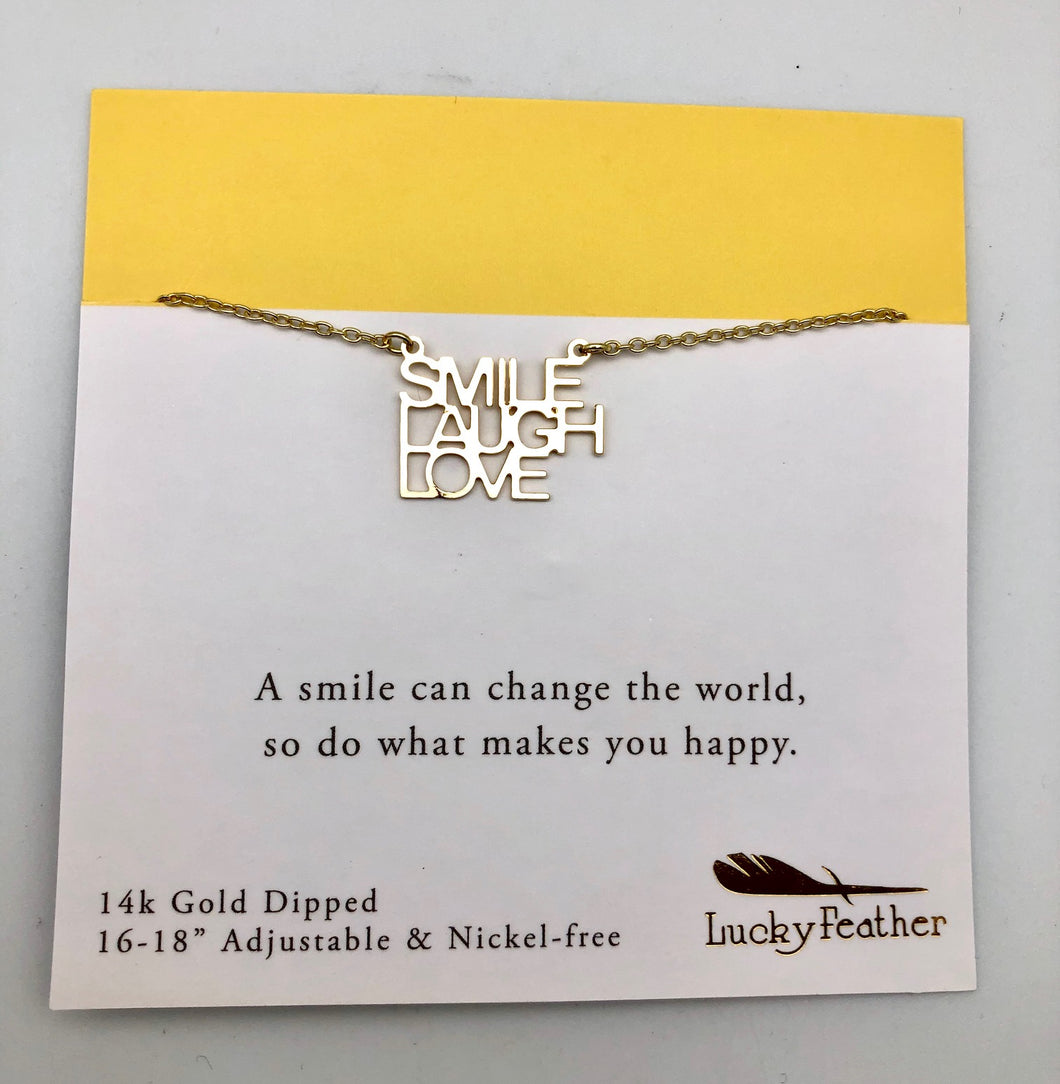 Lucky Feather Strong and Sassy Smile Laugh Love Gold Charm Necklace