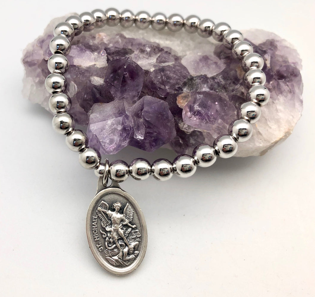 Saint Michael Guardian Angel Protection & Healing Silver Bead Elastic Bracelet