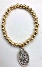 Saint Michael Guardian Angel Protection & Healing Gold Bead Elastic Bracelet