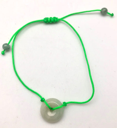 Jade by Nikolai Green Jade Circle Charm Neon Silk Bracelet - Hope and Health