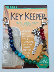 Balanced Chakra Rainbow Bead Key Keeper with Elephant Charm