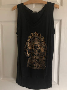 Black and Gold Drapey Ganesh Tank Top Shirt