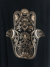 Black and Gold Drapey Hamsa Tank Top Shirt