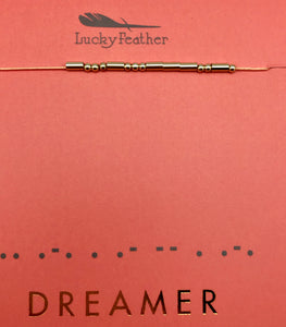 Lucky Feather Morse Code Dreamer Gold Bead Necklace