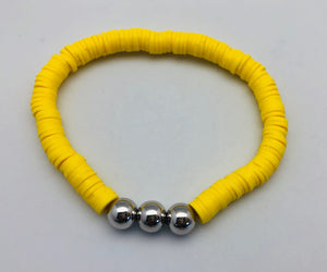 Love Lisa Neon Yellow Disc Bracelet with Gold Beads