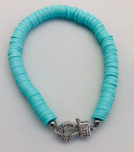 Love Lisa Light Turquoise Disc Bracelet with Crystal Charm Catcher