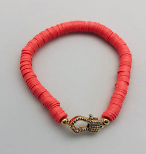 Love Lisa Coral Disc Bracelet with Crystal Charm Catcher