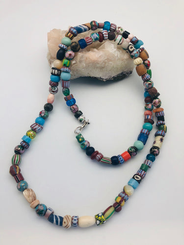 Peyote Bird Celebrate Diversity Long Trade Bead and Cloisonne Necklace